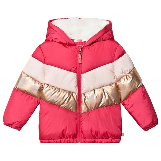 Billieblush Pink and Gold Chevron Puffer Jacket 48M