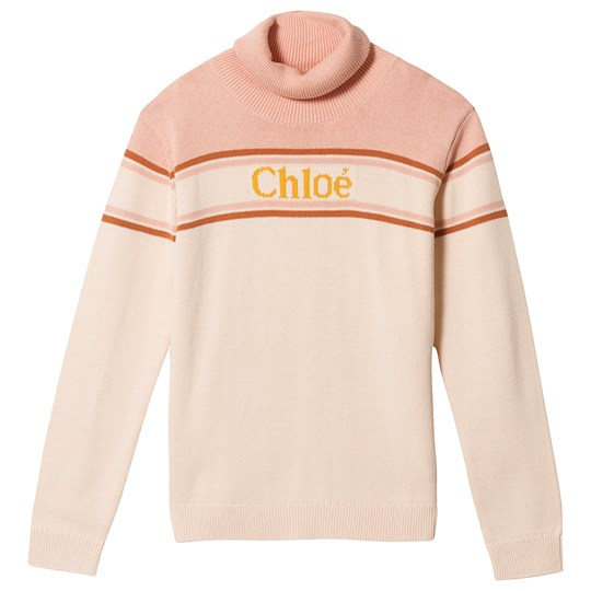 Chloé Logo Roll Neck Sweater Pink 44B