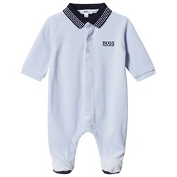 BOSS Logo Footed Baby Body Blue