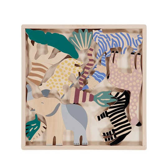 ferm LIVING Safari Animal Box Wood
