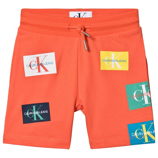 Calvin Klein Jeans Coral Monogram Patch Print Sweat Shorts 606