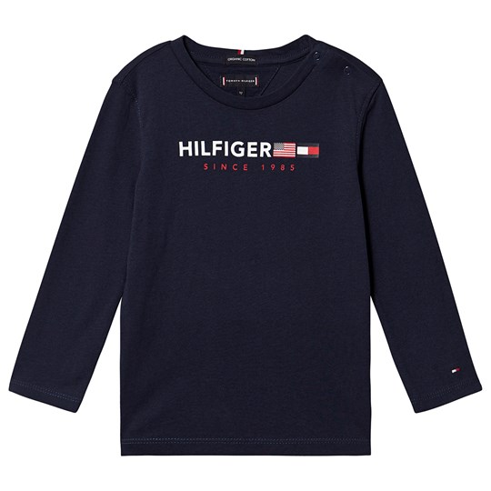 Tommy Hilfiger Flags Long Sleeve Tee Black Iris 002