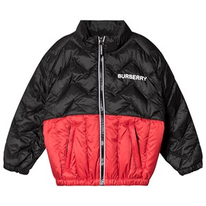 Burberry Quilted Logo Jacket Black and Red 14 years