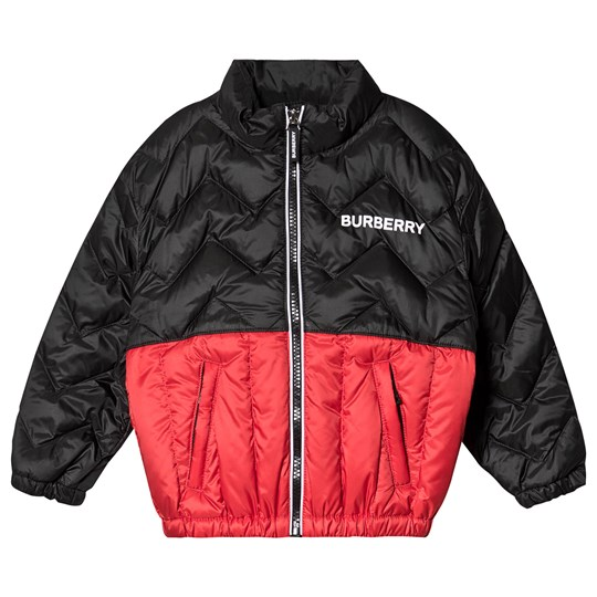 Burberry Quilted Logo Jacket Black and Red A1189