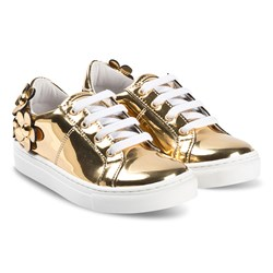 The Marc Jacobs Lace Up Trainers Gold Daisy Applique