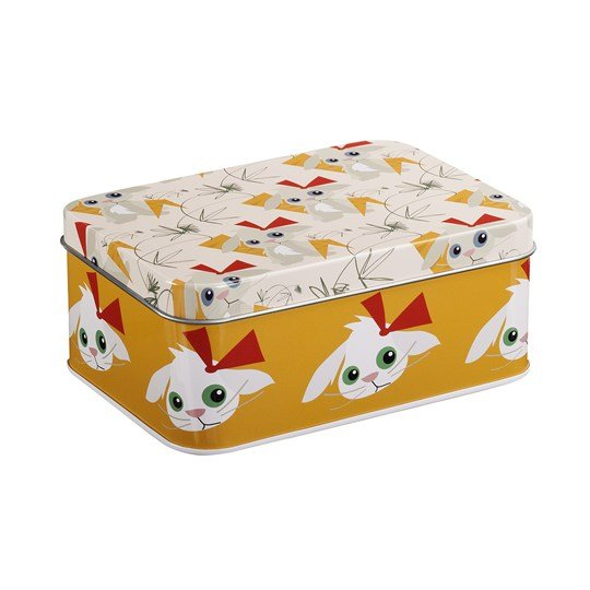 Blafre Rectangular Tin Box Rabbit Pink