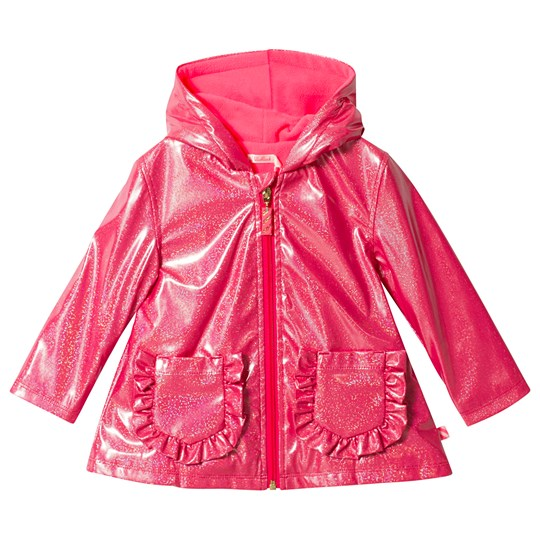 Billieblush Glitter Raincoat with Ruffle Pocket Detail Pink 48M
