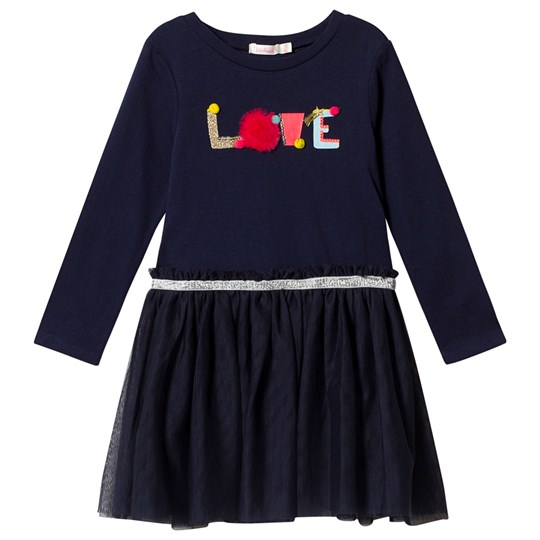 Billieblush Navy Love Tulle Dress with Pom Pom Detail 85T