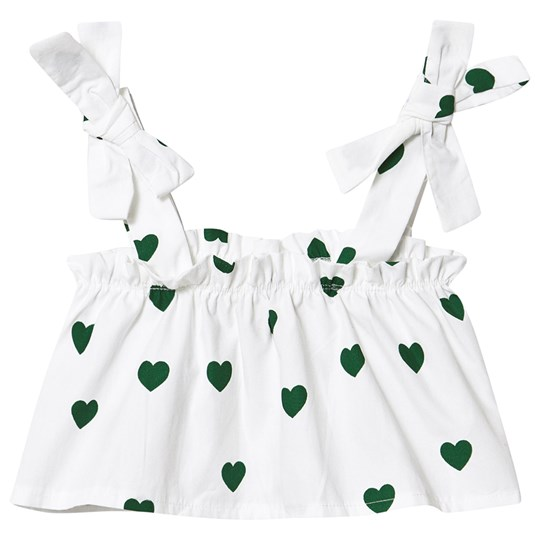 Hugo Loves Tiki Heart Flutter Top White Green Hearts