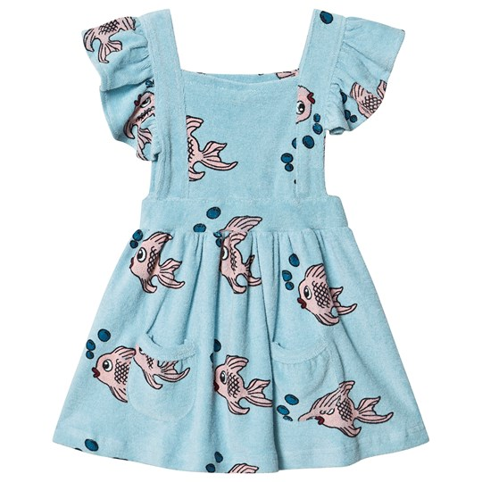 Hugo Loves Tiki Fish Terry Ruffle Play Dress Blue Blue Fish