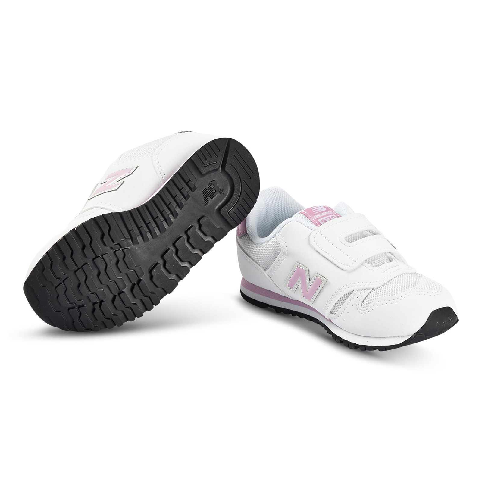 New Balance - 373 Velcro Sneakers White and Pink - Babyshop.com