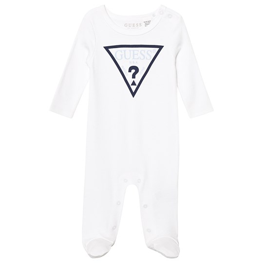 Guess Logo Footed Baby Body White TWHT