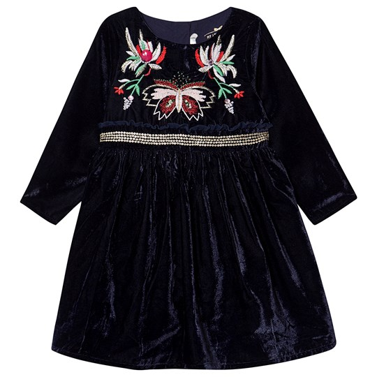 Billieblush Floral Velvet Dress Navy 85T