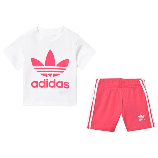 adidas Originals Trefoil Tee and Shorts Set Pink and White Top:white/REAL PINK S18 Bottom:REAL PINK S18/WHITE