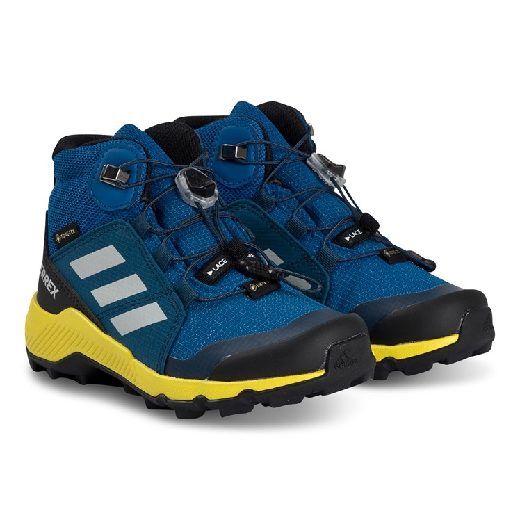 top design uk store big sale adidas Performance - Terrex Mid Hiking Boots Blue and Yellow ...