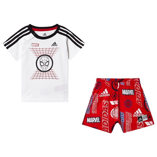 5baf17f870c adidas Performance Spiderman T-shirt and Shorts Set White/Red Top:white/