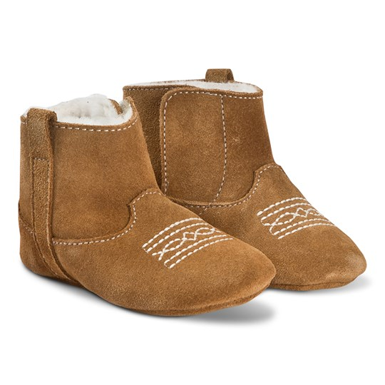 Bonpoint Embroidered Crib Boots Chestnut 061