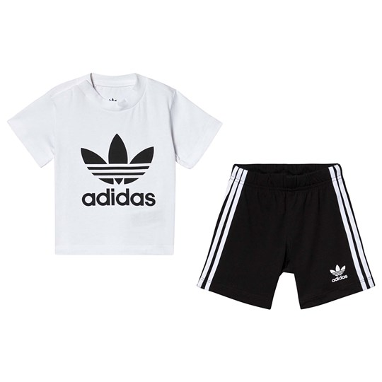 adidas Originals Trefoil Tee and Shorts Set Black and White Top:WHITE/BLACK Bottom:BLACK/WHITE