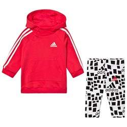 adidas Performance Logo Hoodie and Leggings Set Pink and White