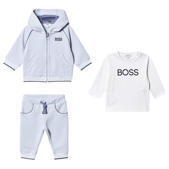 BOSS 3 Piece Baby Set Tracksuit and Tee Pale Blue 771
