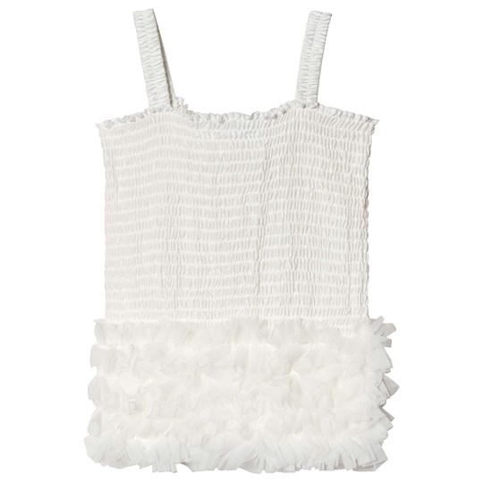 DOLLY by Le Petit Tom Frilly Top Vit White