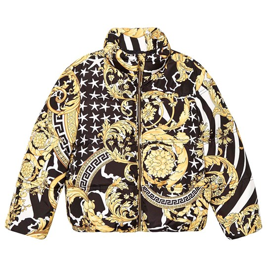 Versace Baroque Puffer Jacket Black and Gold YA743