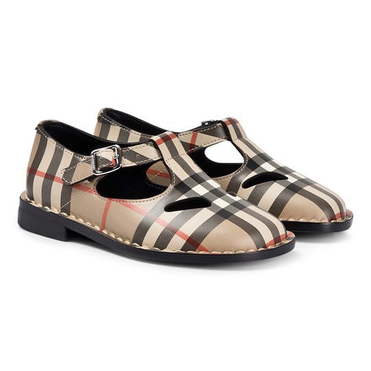 Burberry Check Mary Jane Shoes Archive Beige A7026
