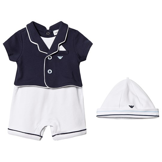 Emporio Armani Romper and Hat Set Navy and White F911