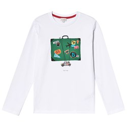 Paul Smith Junior Mini and Suitcase Print Long Sleeve Tee White