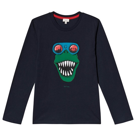 Paul Smith Junior Dino Print Interactive Long Sleeve Tee Navy 492