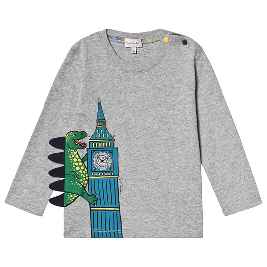 Paul Smith Junior Big Ben Dino Print Long Sleeve Tee Grey Marl 240