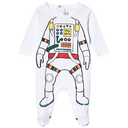 Paul Smith Junior Astronaut Print Footed Baby Body White