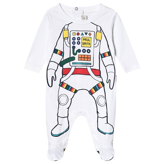 Paul Smith Junior Astronaut Print Footed Baby Body White 01