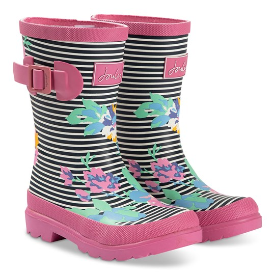 Tom Joule Floral and Stripe Rain Boots Pink NAVY FLORAL STRIPE