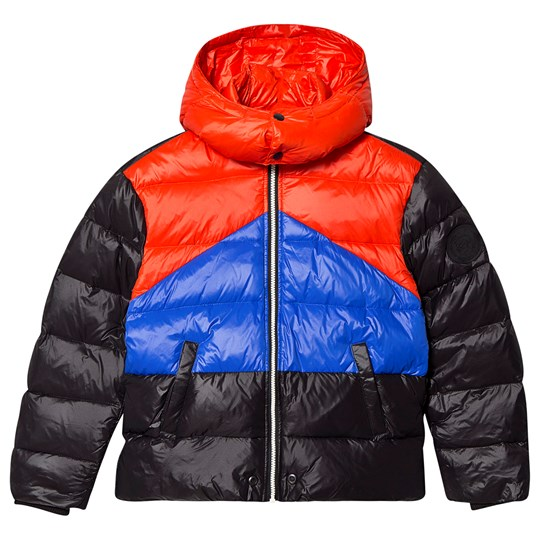 Diesel Color Block Puffer Jacket Black, Blue and Red K900