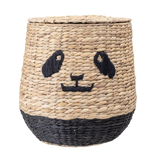 Bloomingville Basket With Lid Panda Water Hyacinth Beige
