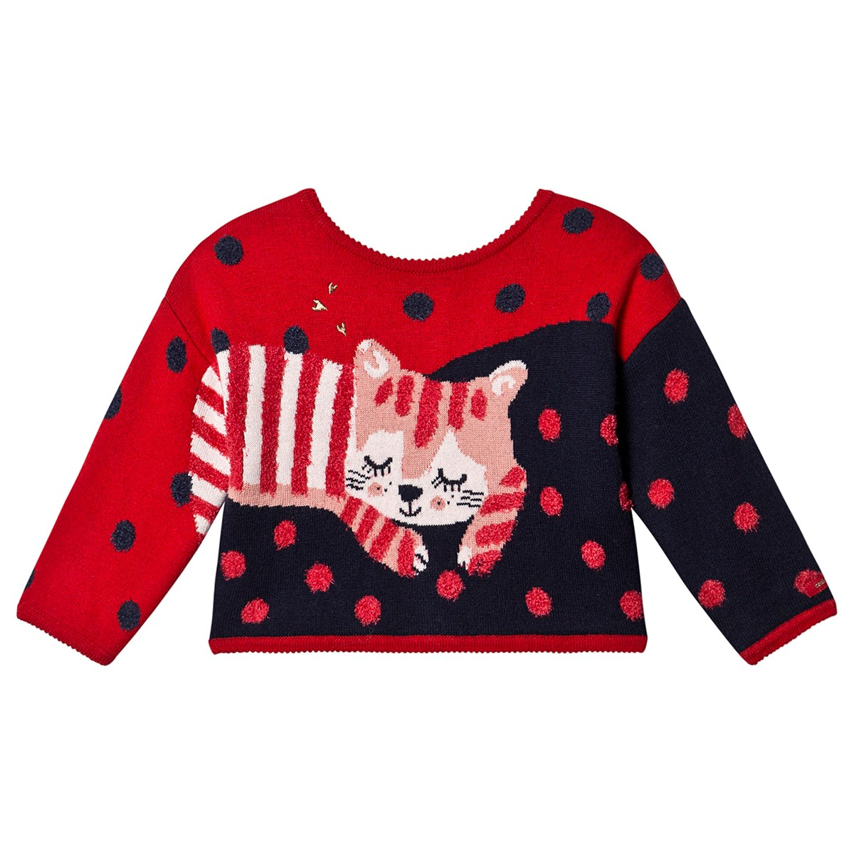 Catimini - 2-in-1 Spot Cat Sweater and Cardigan Red - Babyshop com