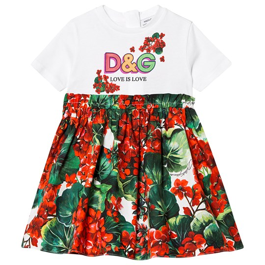 Dolce & Gabbana Portofino Infant Dress White and Red S9000