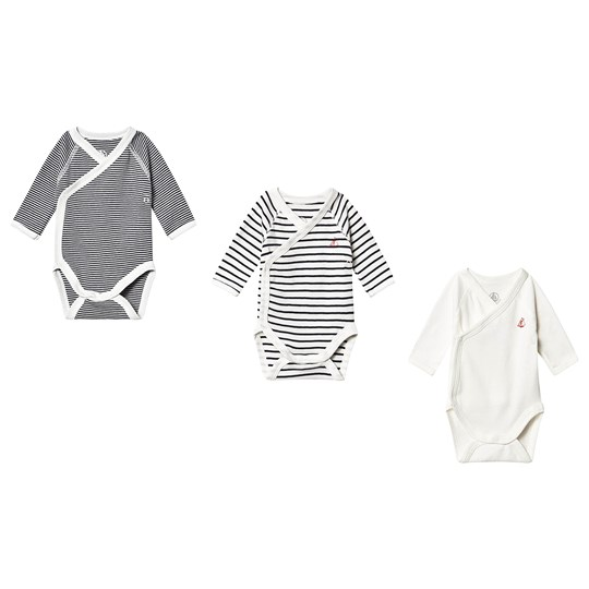 Petit Bateau 3-pack Långärmad Baby body Marshmallow White/Smoking Blue variante 1