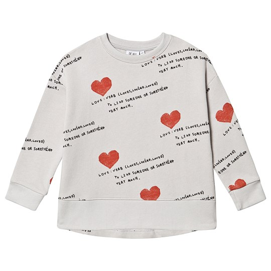 Beau Loves Relaxed Fit Sweatshirt Quiet Grey Quiet Grey, I Heart You AOP, Black & Red