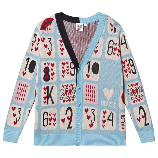Beau Loves Knit Cardigan Sky Game Of Hearts Jacquard Sky, Game Of Hearts Jacquard