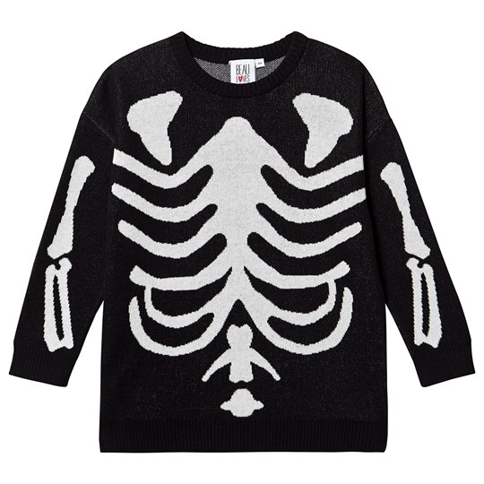 Beau Loves Skeleton Sweater Black Black, Jacquard Skeleton, Natural