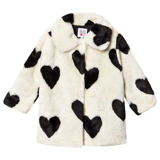 Beau Loves Fur Coat Natural Natural, Hearts Jacquard, Black
