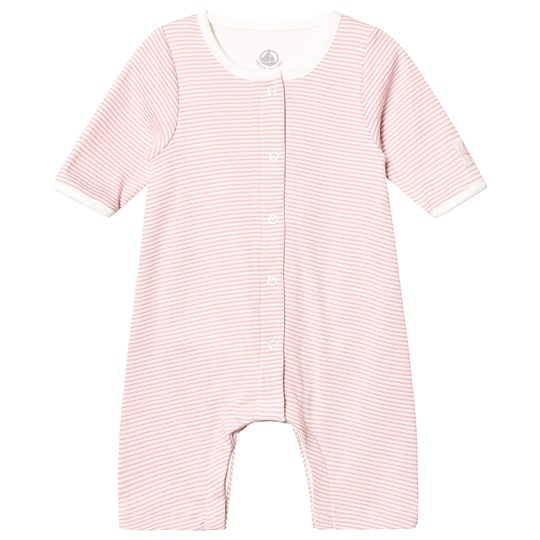 Petit Bateau Striped One-Piece Charm Pink and Marshmallow White Charme/Marshmallow