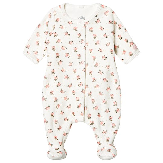 Petit Bateau Floral Footed Baby Body Marshmallow White MARSHMALLOW/MULTICO