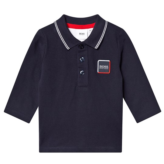 BOSS Branded Long Sleeve Polo Navy 849