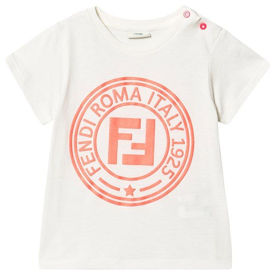 Fendi Roma Stamp Tee White and Pink F16WF