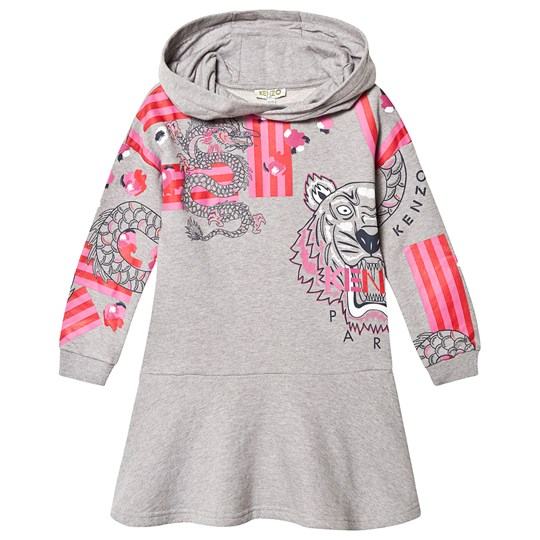 Kenzo Japanese Flower Hoodie Dress Marl Grey 25