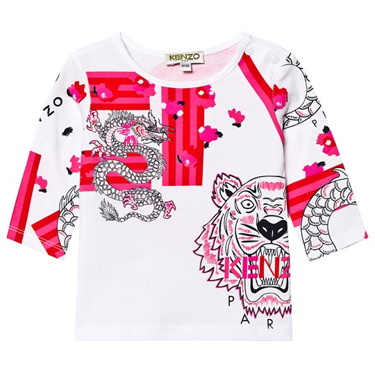 Kenzo Japanese Flower Baby Long Sleeve Tee Optic White 01