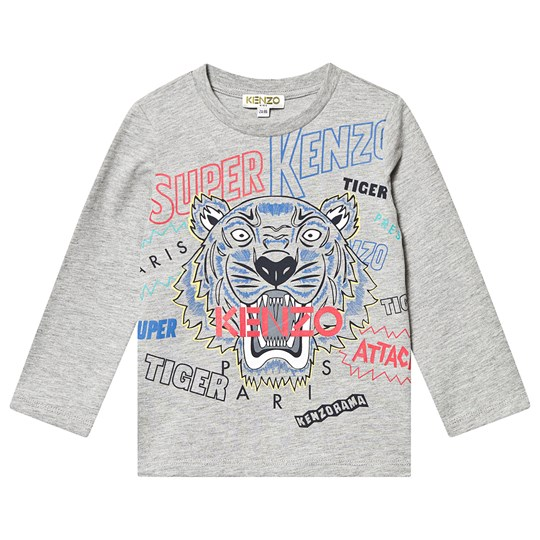 Kenzo Tiger Long Sleeve Tee Marl Grey 25